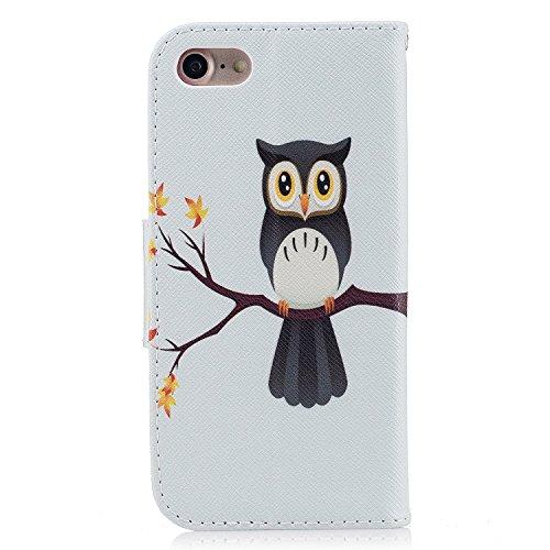 Para iPhone 7/7G (4,7 zoll) funda, (Panda tímido) caja del teléfono de la PU patrón en pintado ,Función de Soporte Billetera con Tapa para Tarjetas soporte para teléfono Nightingale solo