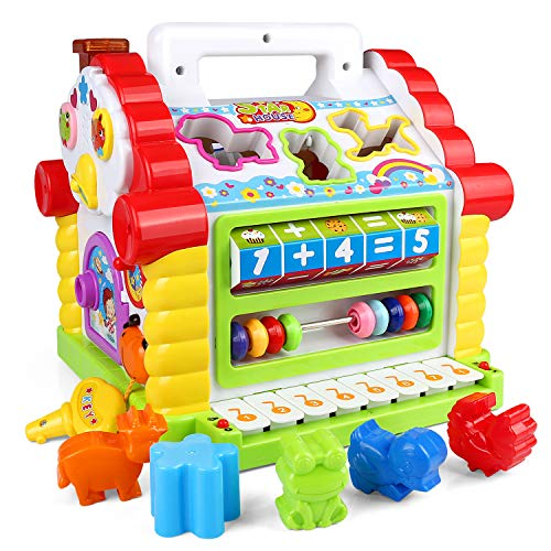ZJTL Colors Pairing Blocks Educational Learning & Geometric Shape Toys, Electronic Musical Activity Play Center House with Counting Help/Know Animals/Electronic Piano/Open Door/ ()