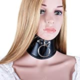 PU Leather BDSM Bondage Posture Neck Collar with Pull Ring Adjustable Collar Rings Belt Slave Bondage Strap Harness Sex Toys