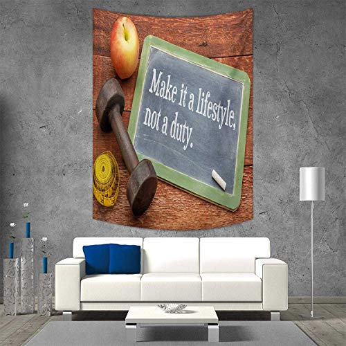 smallbeefly Fitness Tapestry Wall Hanging 3D Printing Make It a Lifestyle Not a Duty Chalkboard Apple Dumbbell Tape Measure on Wood Print Beach Throw Blanket 70W x 93L INCH Multicolor