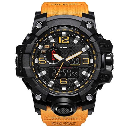 Bounabay Mens Military Digital Sport Watch Water Resistant Outdoor LED Back Light Display,Orange