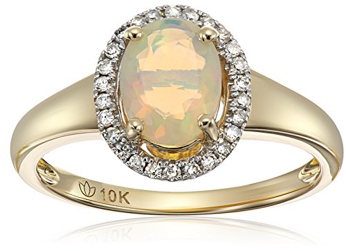 10k Yellow Gold Ethiopian Opal and Diamond Princess Diana...