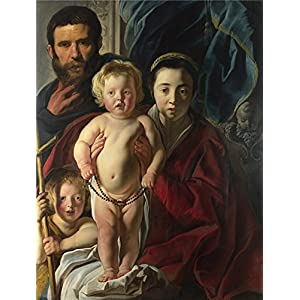 Oil Painting 'Jacob Jordaens The Holy Family And Saint John The Baptist ' Printing On High Quality Polyster Canvas , 20 X 26 Inch / 51 X 67 Cm ,the Best Kids Room Decor And Home Decor And Gifts Is This Reproductions Art Decorative Canvas Prints