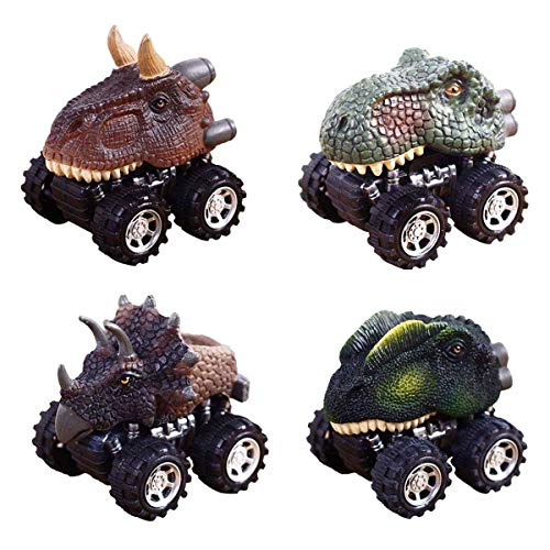 Anditoy 4 Pack Pull Back Dinosaur Cars Big Tire Wheel Vehicles Playset Dinosaur Toys Truck for Toddlers, 3-14 Year Old Kids