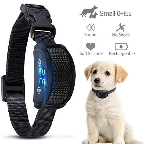 KUMEEK [Upgraded 2019] No Bark Collar - Best Rechargeable Anti-Barking Shock Control with 5 Levels Automatic Bark Collar for Small Medium Large Dogs Electronic Safe Stop Bark (6+lbs)