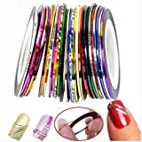 Goliton? 32 Mix Color Rolls Striping Tape Line for Nail Art Decoration Sticker DIY Tips A set of 32 kinds of colors
