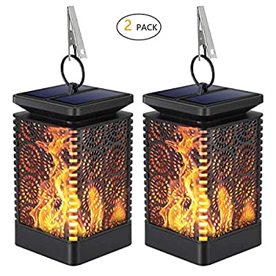 Solar Lantern Outdoor Lights,KINGCOO Dancing Flames Lights Waterproof Hanging Lanterns Solar Yard Lights Auto On/Off Lighting Dusk to Dawn 99 Bright LED for Garden Decor (2 Pack)