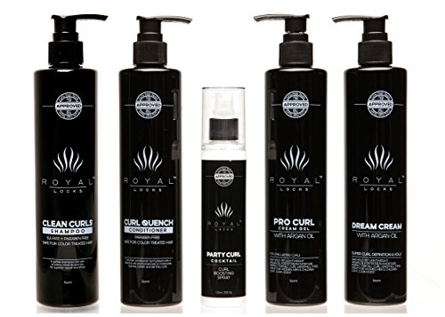 Complete Curly Hair Products Set by Royal Locks Two Curl Creams Curling Spray Sulfate and Paraben Free Shampoo and Conditioner for Healthy Natural or Perm Curls by Royal Locks