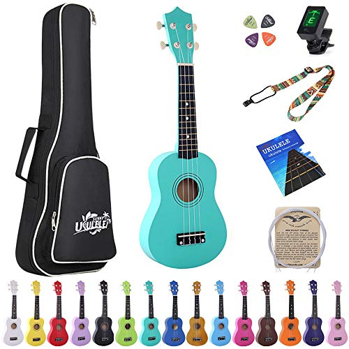 Esound 21 inch Soprano Ukulele Basswood Acoustic Mini Guitar for Beginner Kid Starter with Case Strap Tuner Picks Strings Primary Tutorial
