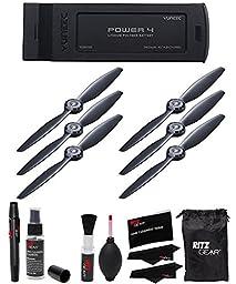 Yuneec Typhoon H Battery Digital Camera Battery (YUNTYH105), YUNEEC Propellers for Typhoon H Hexacopter (Position A, 3-Pack), YUNEEC Propellers (Position B, 3-Pack) & Ritz Gear Premium Cleaning Kit