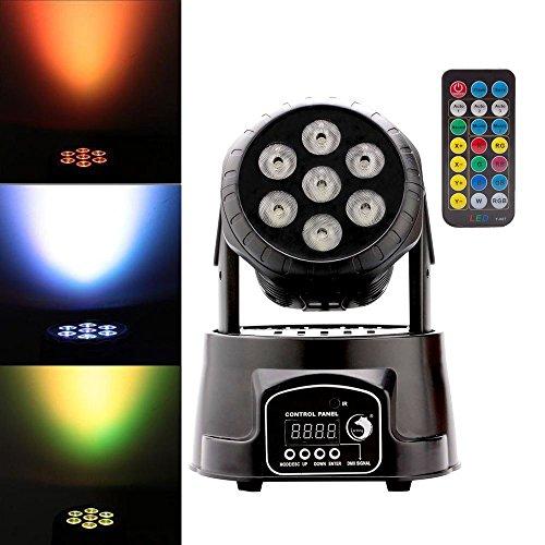 Moving Head Light, U`King RGBW (4 in 1) Stage Light 7 LED x 10W Ultra-bright Rotation Effect Light with IR Remote and DMX512 for Stage Lighting DJ Club Party Decoration