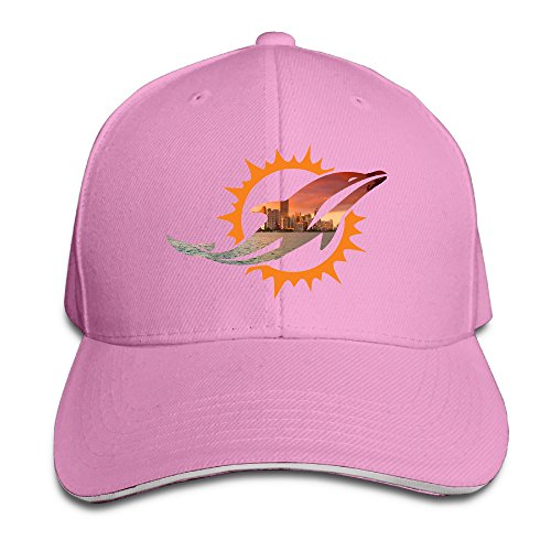 Hotboy19 Adult Miami Sport Football Logo Reversed Baseball Cap Pink