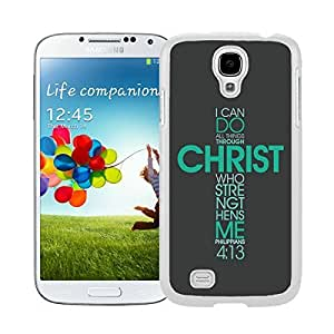 Pop Samsung Galaxy S4 Case Soft Rubber Silicone White Phone Cover Accessories Bible Philippians Jesus Christ Christian Cross Cases Cover Green
