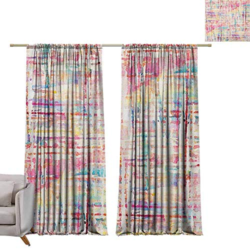 (berrly Grommet Window Treatment Set Grunge,Abstract Grunge Paint with Manifold Complicated Mixed Figures and Lines Artsy Print, Multicolor W96 x L108 Curtains)