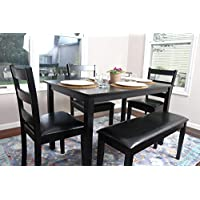 4 Person - 5 Piece Kitchen Dining Table Set - 1 Table, 3 Leather Chairs & 1 Bench Black J150232Black