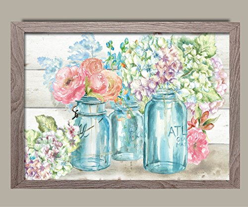 Beautiful Watercolor-Style Colorful Flowers In Mason Jar Floral Print by Tre Sorelle Studios; One 14x11in Distressed Framed Print; Ready to hang!