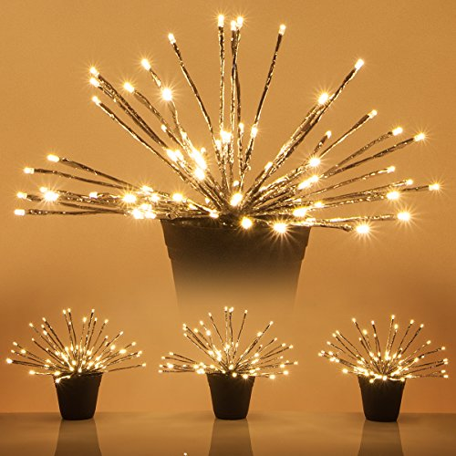 LED Starburst 5mm Lighted Branches - Fairy Light Balls - Christmas Light Balls (15'', Silver Branches/Warm White Twinkle Lights, Set of 3) by Wintergreen Lighting