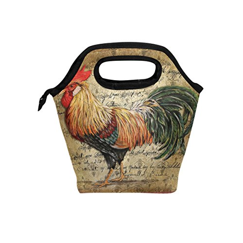 Rooster Vintage Background Lunch Bag Insulated Lunch Box Tote for Women Men Kids