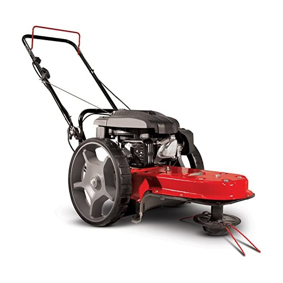 "Earthquake 28463 m205 trimmer with 150cc 4-cycle viper engine walk behind string mower, red/black 1 powerful - powered by a strong, yet quiet, 150cc 4-cycle viper engine. The earthquake m205 walk behind string mower chops down your unsightly weeds and stubborn brush with ease. The large 14-inch wheels allow you to float through thick grass, weeds, brush, nettles, and other foliage too difficult for push mowers to overcome. Durable - our one-piece steel deck provides strength and stability while reducing vibration. Super tough nylon line has a cutting swath of 22"" to get the job done quickly. Never kill engine: unlike many competitive units, our engine will continue to run when the cutting head is disengaged so you can safely and easily remove sticks, branches or other obstacles without having to re-start the engine, saving time and frustration."