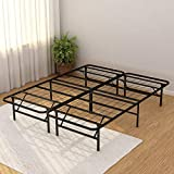 Foldable Bed Frame Metal Platform Base 14Inch Box Spring Replacement Mattress Foundation Heavy Duty Steel Slat, Black Queen (Queen, Black)