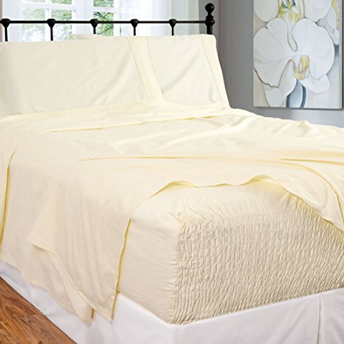 Bed Tite Stretch Fit 300-Thread Count 100-Percent Cotton Ultra Luxurious Deep Pocket Sheet Set (Twin, Ivory)