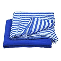 green sprouts Muslin Swaddle Blankets made from Organic Cotton,Royal Blue Set