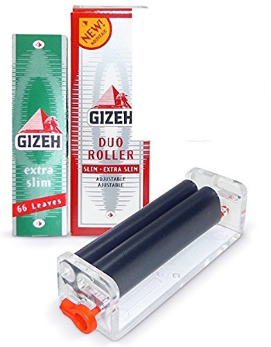 Gizeh Duo Roller (Rolls 2 Different Widths!) + 1 1/4 Size Extra Slim Cigarette Rolling Papers Pack (66 Leaves Per Pack) + Limited Edition Beamer Smoke Sticker. Used with Legal Smoking Herbs - Gizeh Cigarette Roller