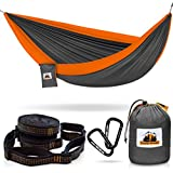 Traveler Fantasy Double Camping Hammock: All-in-One Hammock, Portable and Lightweight - Includes Double Parachute Hammock + 2 Heavy Duty 10' Straps + Super Strong Carabiners (Gray & Orange)