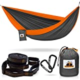 Traveler Fantasy All-in-One Camping Hammock, Portable and Lightweight – Includes Double Parachute Hammock + 2 Heavy Duty 10' Straps + Super Strong Carabiners by (Gray & Orange)