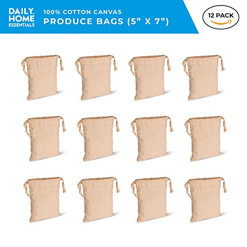 """Daily Home Essentials 100% Cotton Multipurpose Canvas Produce Bags With Drawstring Closure. For Shopping, Storage & Travel. 12 Pack. Small 5""""x7"""" -"""