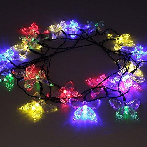 Easternstar Solar String Lights Outdoor,15ft 20 LED Butterfly Multicolor Waterproof Fairy Blossom (Fiber Butterfly Light String)
