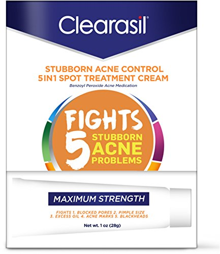 Clearasil Stubborn Acne Control 5 in 1 Spot Treatment Cream, 1 oz (Pack of 3)