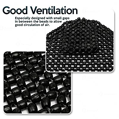 Zone Tech Wood Beaded Seat Cushion - Quality Black Premium Quality Car Massaging Double Strung Wood Beaded Seat Cushion for Stress Free All Day!: Automotive