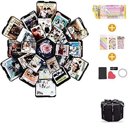 EKKONG Explosion Box Scrapbook Creative DIY Photo Album de Accesorios para cumpleaños Aniversario Boda San Valentín Día de la Madre Navidad,La Caja de Regalo con 6 Caras (Negro): Amazon.es: Hogar