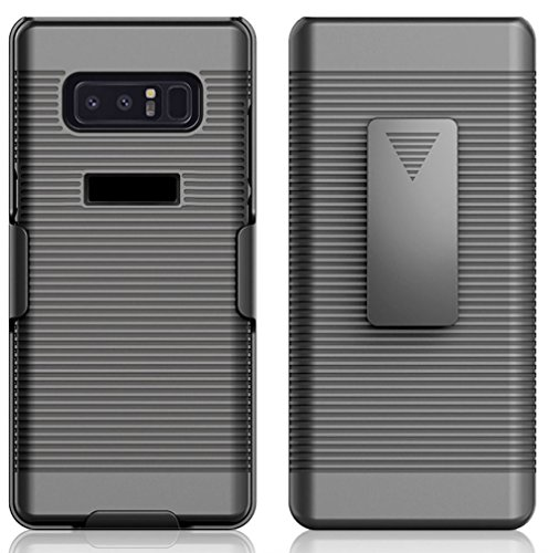 Price comparison product image Zuzo Premium Note 8 Holster Case With Rubberized Ribbed Texture and Swivel Belt Clip Kickstand for Galaxy Note 8 (2017) (Black)