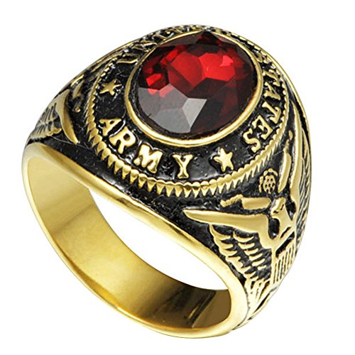 Jude Jewelers Size 7-15 Stainless Steel Military Ring United States Army Gold Plated Red Stone (14)