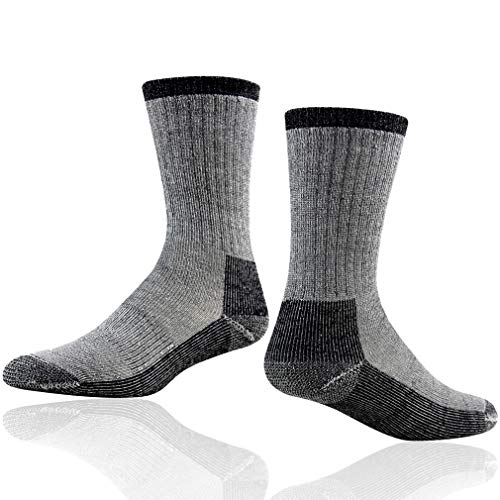 Outdoor Hiking Socks, RTZAT Merino Wool Arch Compression Support Multi Performance Full Thickness Winter Boot Crew Socks Best Gifts for Dad, 1 Pair Black Large