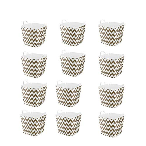Life Story 25 Liter Plastic Home Storage Container Bin Tub Basket, Gold Chevron (12 Pack)