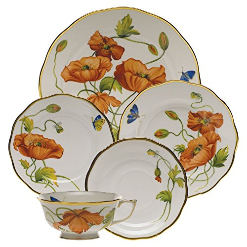 Herend American Wildflowers California Poppy Five Piece Place Setting