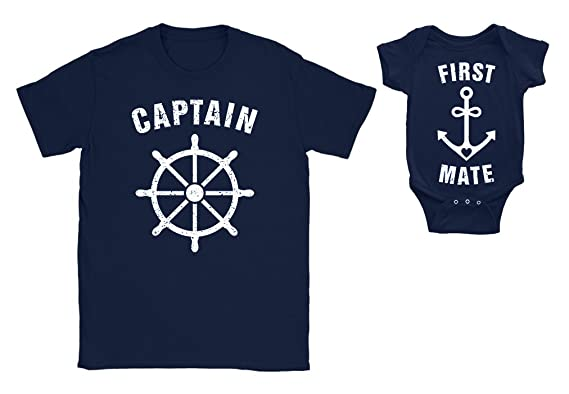 246c8dd6 Captain & First Mate Father Son Matching Set for Father's Day T-shirt  Bodysuit Gift for New Daddy: Amazon.co.uk: Clothing