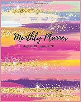 Monthly Planner July 2019 - June 2020: Colorful Brush Paint ...