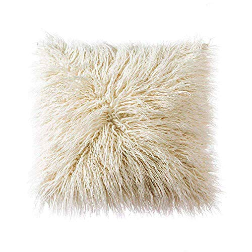 Ojia Deluxe Home Decorative Super Soft Plush Mongolian Faux Fur Throw Pillow Cover Cushion Case (18 x 18 Inch, Cream White)