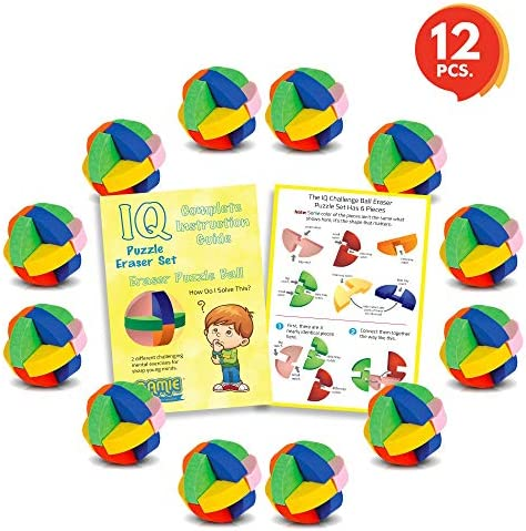 Set of 12 3D Puzzle Ball Erasers Set for Kids by Gamie | Includes 12 Ball Puzzle Erasers Fun Brain Teaser for Boys and Girls//Cool Party Favor//Great Carnival Prize for Children