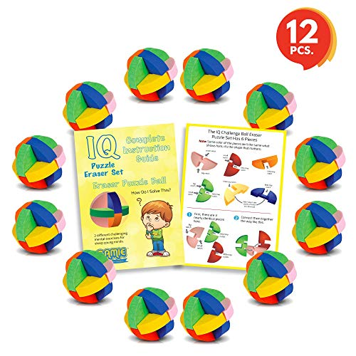 3D Puzzle Ball Erasers Set for Kids by Gamie (Set of 12) | Includes 12 Ball Puzzle Erasers | Fun Brain Teaser for Boys and Girls/Cool Party Favor/Great Carnival Prize for Children by Gamie