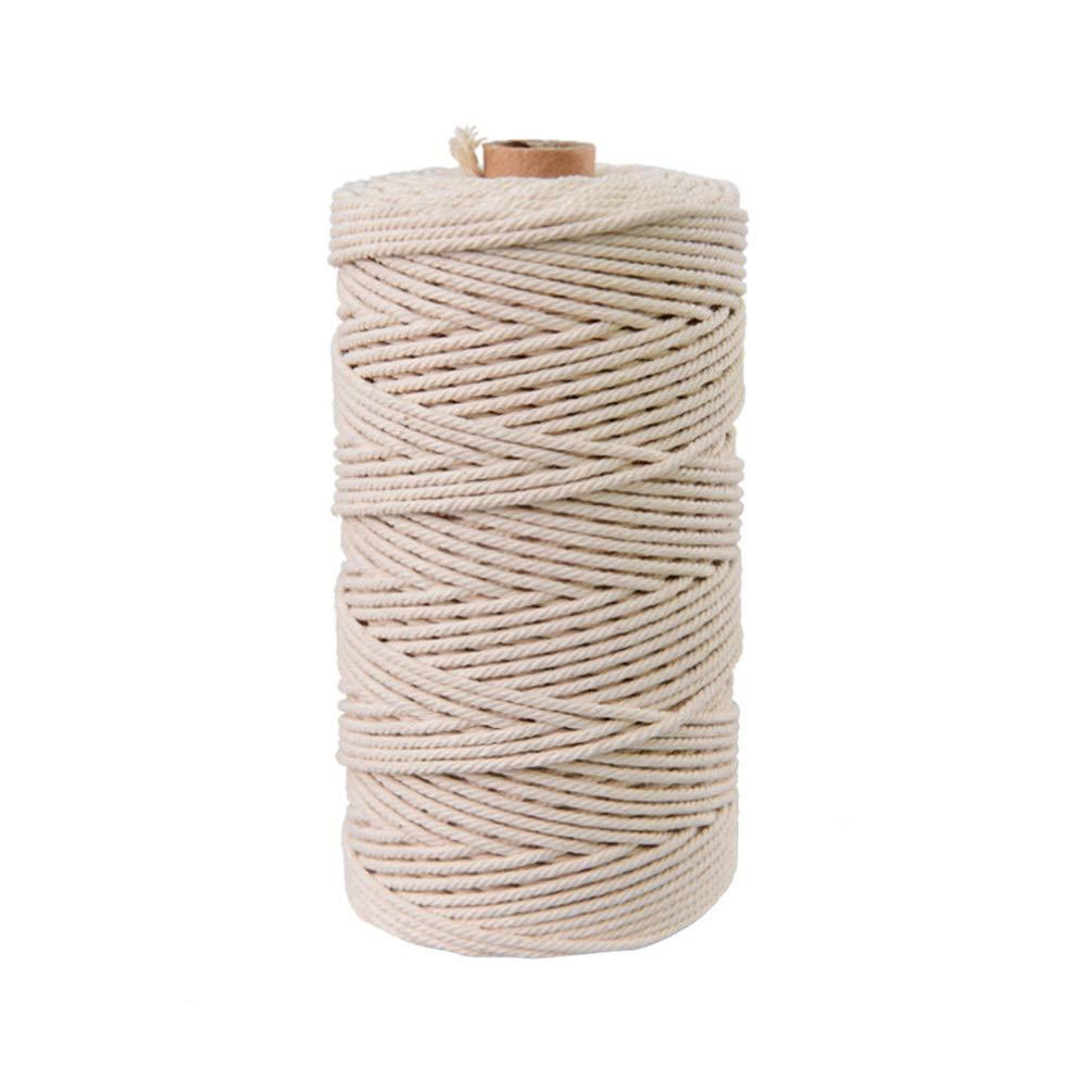 Healifty 200m macrame cuerda macrame cord/ón retorcido cord/ón de algod/ón para perchas de plantas pared tapiz colgando artesan/ía de tejer beige