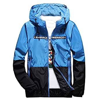 XINHEO Mens Contrast Color Print Plus-Size with Zips with Hooded Casual Coat Jacket Blue 2XL