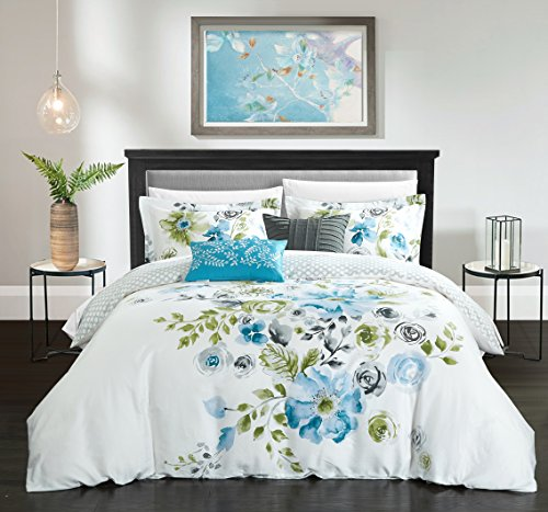 Chic Home 5 Piece Belleville Garden Reversible Floral Print and Geometric Patterned Technique King Comforter Set Blue from Chic Home