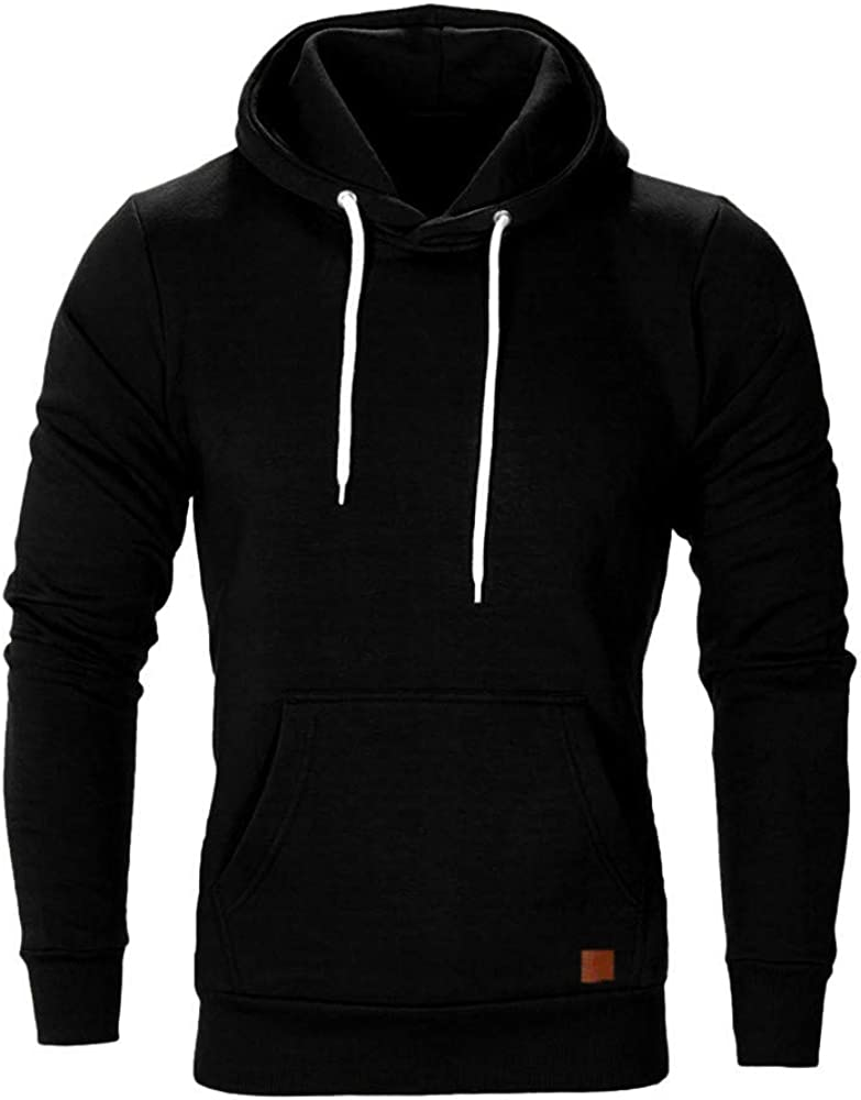 Mens Autumn Spring Solid Color Long Sleeve Hoodies Sweatershirt Tops Shirt Mens Hoodie Clothes Sale Solid Casual Long Sleeve Hooded Sweatshirt Top Blouse Tracksuits with Front Kangaroo Pocket