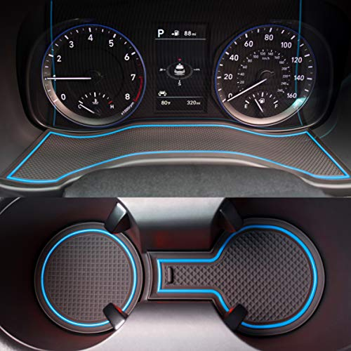 Custom Fit Cup, Door, Center Console Liner Accessories for 2018 2019 Hyundai Kona 19PC Set (Blue Trim) ()