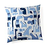 Glenna Jean Dino Blue 18''x 18'' Pillow with Fill for Baby Nursery, Decorative Soft Cushion Square